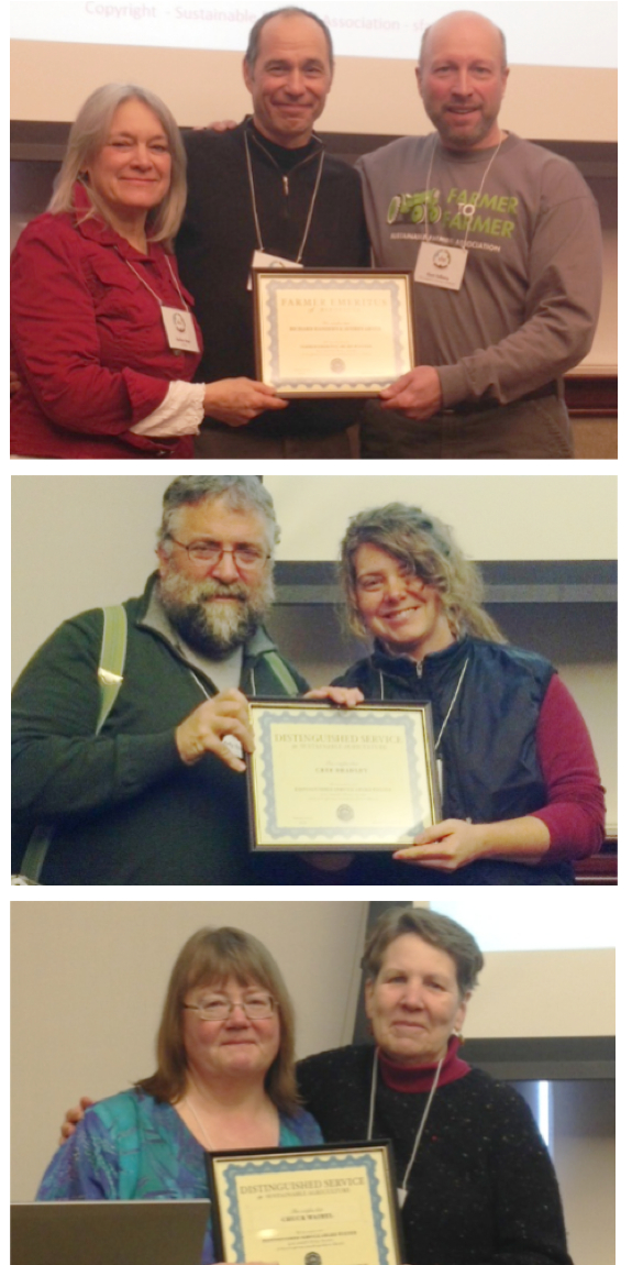 2014 SFA Award Winners, from top to bottom: Richard Handeen and Audrey Arner with nominator Kent Solberg (right); Cree Bradley with nominator Kelly Smith; and Carol Ford (left), accepting for her late husband, Chuck Waibel, presented by Mary Hanks.
