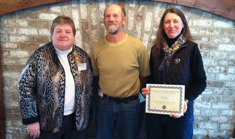Service Award Winners Linda Meschke (left) and Sue Wika, and Farmer Emeritus Award winner Joel Rosen were honored Feb. 16 at the SFA Annual Conference Leaders Breakfast.