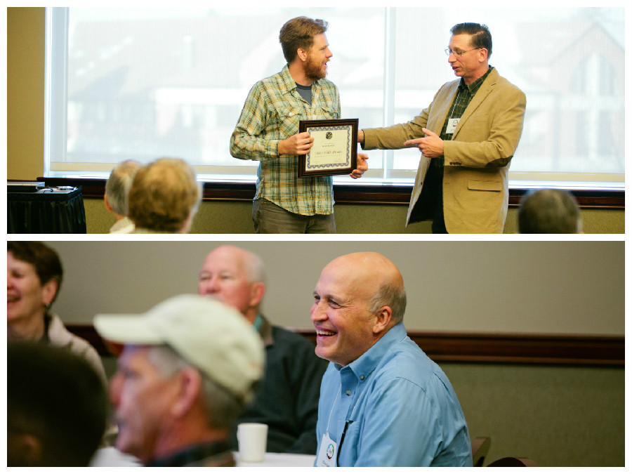 At top, outgoing Board Treasurer Josh Reinitz accepts the Director's Award from John Mesko. At bottom, Chris Kudrna laughs as his Distinguished Service Award nomination was read.