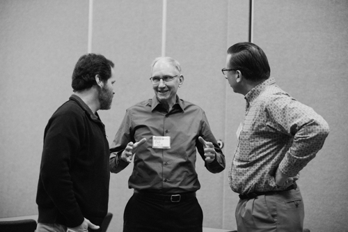 Bob Fields chats with Jim Chamberlin (left), SFA board vice-chair, and John Mesko (right), SFA executive director. Photo by Crystal Liepa.