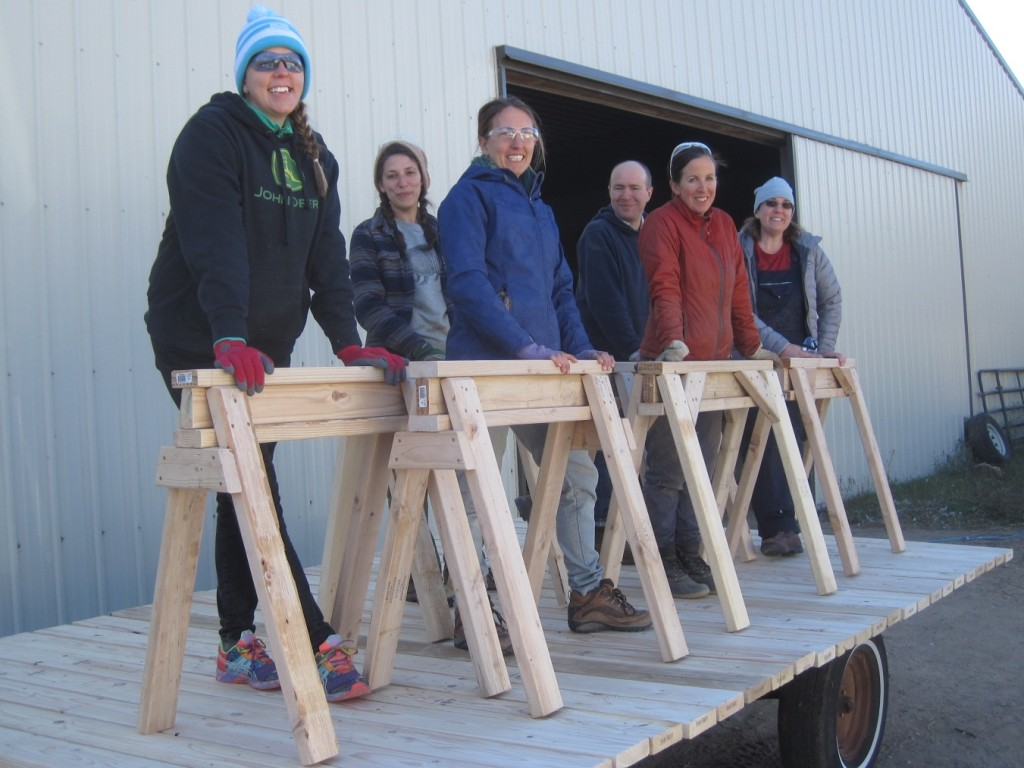 The Fall 2015 Farm Skills 101 students with sawhorses they learned to build: Holly Pearson (from left), Sarah Mogilevsky, Cathryn Henning, Andy Gricevich, Cassi Dutcher and Amy Fenn.