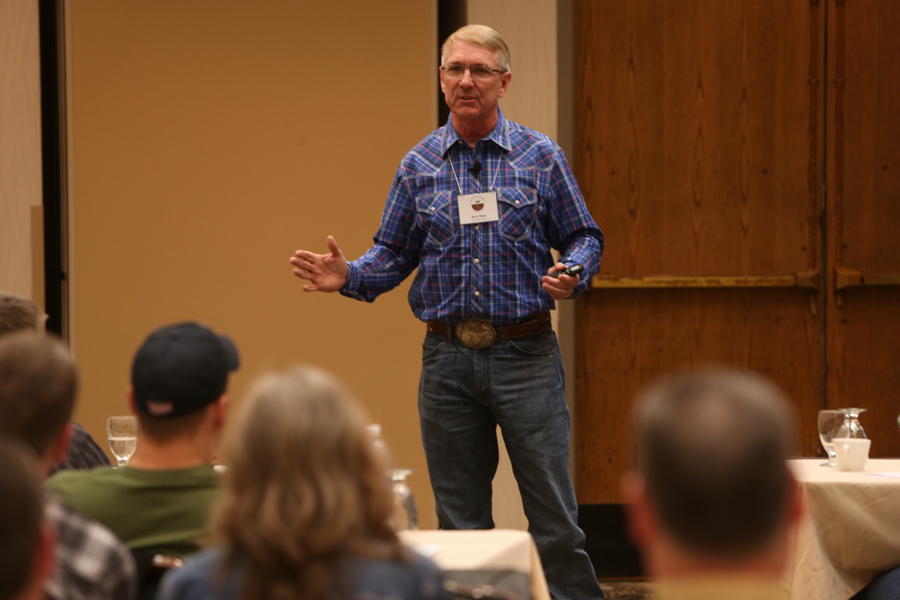 Midwest Soil Health Summit presenter Jerry Doan of Black Leg Ranch speaks during the 2015 MSHS on Feb. 19 at Arrowwood Resort in Alexandria, Minn.