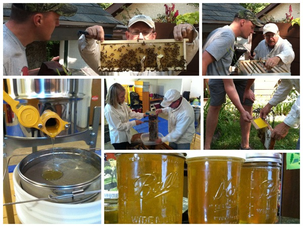 The Walkers are benefiting from a neighbor, Pat Sexton, who is teaching them how to keep bees. In photos, Jason and Pat begin extracting the honey frames (clockwise from top left), the bees are gently brushed off, honey is ready to go, the honey extractor uses centrifugal force to spin the honey from the frames. Middle: Leita and Pat work to cut the wax off the capped honey before the frame goes into the extractor.