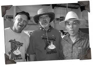 """SFA members Greg Reynolds, Jerry Ford and Chris Barnier (from left), shown at Garlic Fest 2009  delirious from reading too many editions of """"The Stinky News."""""""