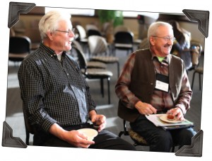 Jim VanDerPol and Dave Minar chat and sample beer and cheese during the 2012 SFA Annual Conference.