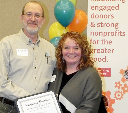 SFA Network Coordinator Jerry Ford has been working with the Charities Review Council in a program that certifies nonprofit organizations that meet a high set of standards. Jerry is shown here with Kris Kewitsch, Executive Director, Charities Review Council.