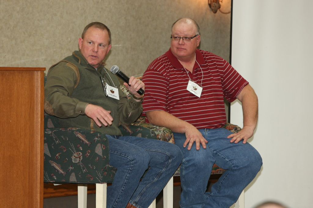 Dr. Allen Williams, shown at left above at the 2015 Midwest Soil Health Summit with co-speaker Gabe Brown, will return to the 2016 MSHS.