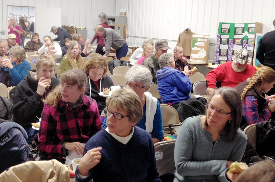 Attendees break for lunch during the 2015 Fosston Fiber Festival on Feb. 21 at Northern Woolen Mills. Photo by Keila McCracken.