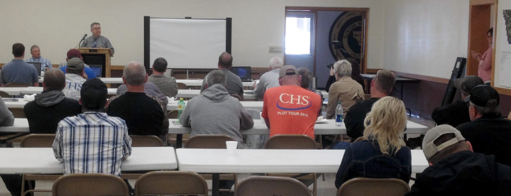 Dave Weirens from the MN Board of Water & Soil Resources discussed the buffer law and its requirements at Big Stone SWCD's Soil Health Network event June 1 in Clinton, Minn.