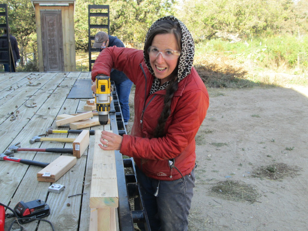 Farm Skills 101 student Cassi Dutcher builds her take-home sawhorse during the first weekend of the fall semester on Oct. 2-3, 2015.