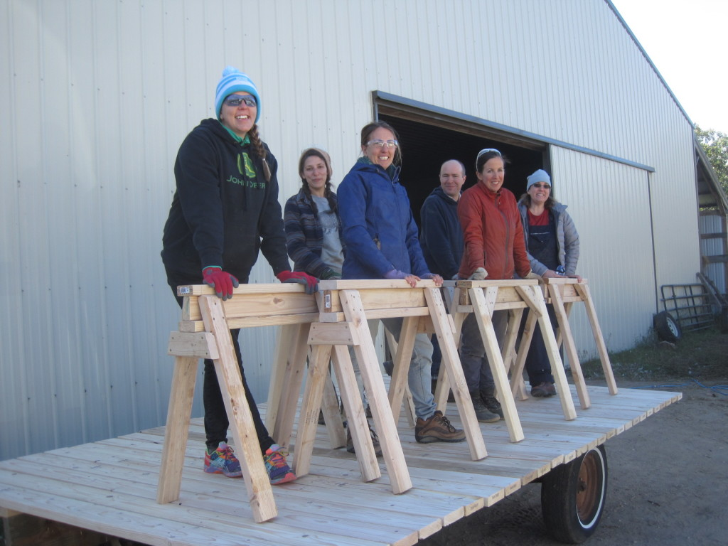 The Fall 2015 Farm Skills 101 students with their completed sawhorses: Holly Pearson (from left), Sarah Mogilevsky, Cathryn Henning, Andy Gricevich, Cassi Dutcher and Amy Fenn.