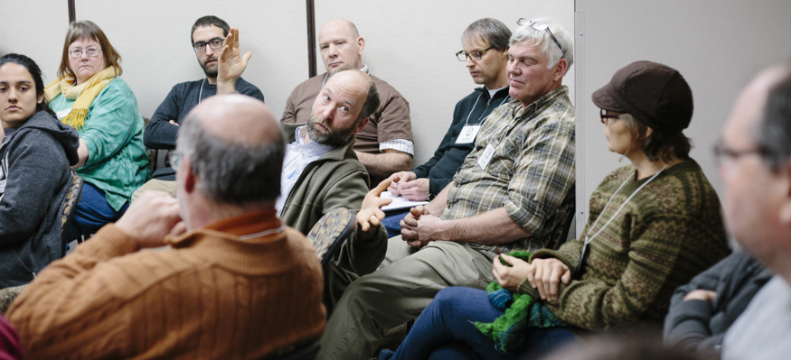 Farmer and SFA member Ryan Pesch chats during the Deep Winter Greenhouse networking session at the 2016 SFA Annual Conference on Feb. 13 at the College of Saint Benedict in St. Joseph, Minn.