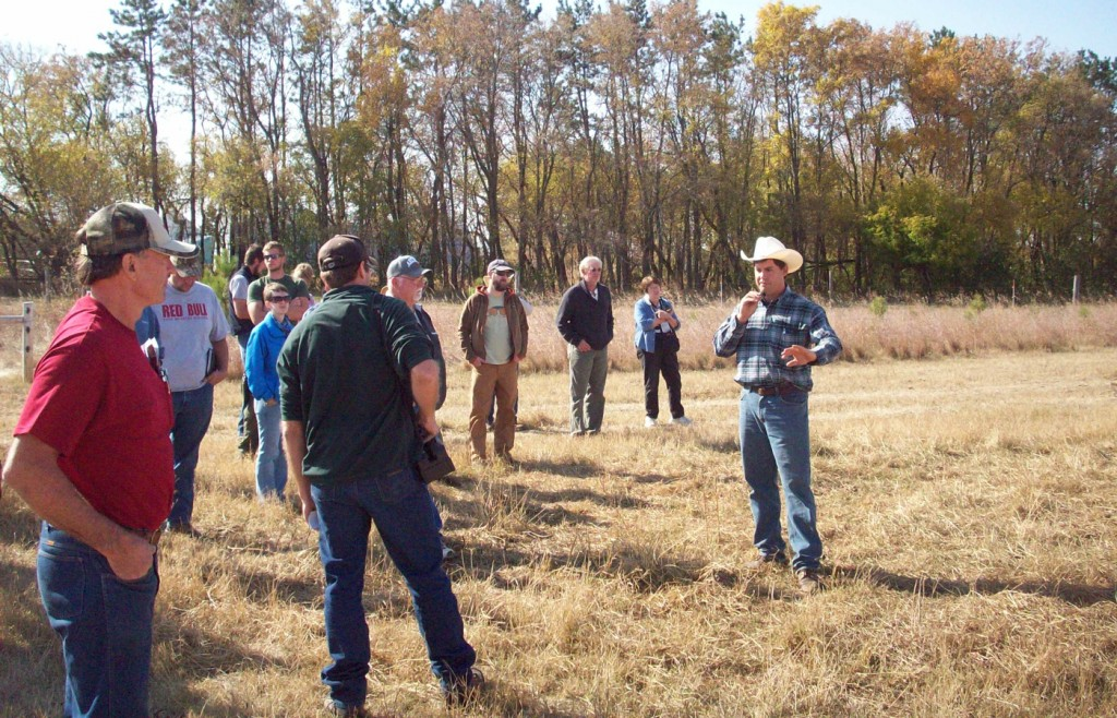 Ivan Reinke describes benefits of bale grazing on his farm during an SFA workshop in 2012.