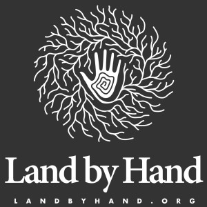 Land by Hand Poster Design Logo