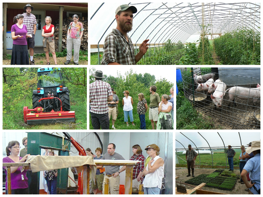 Clockwise, from top left: Gretchen Perbix at Sweetland Orchard; Peter Skold of Waxwing Farm in their hoop house; hogs at Waxwing; greenhouse at Waxwing Farm; Gretchen demonstrates the Sweetland cider press; a flail chopper at Sweetland. Center: The crowd during the tour of Sweetland Orchard.
